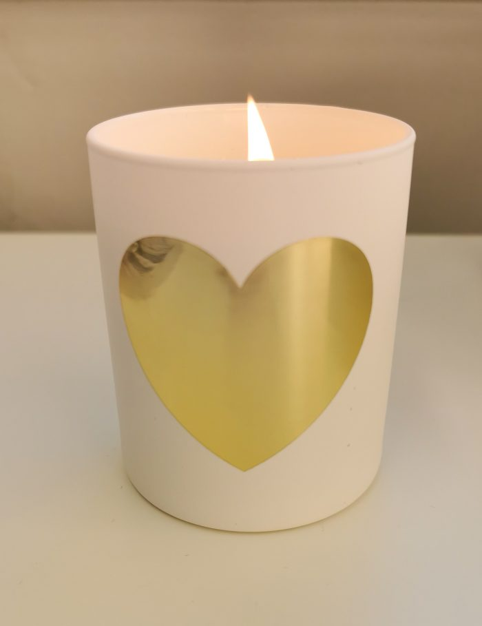 gold heart candle